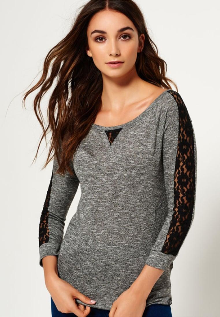 ... Femme Tops   T-shirts Superdry T-shirt à manches longues - charcoal  twist ... 0ea95806693e