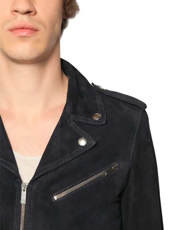 Homme Bleu En Cuir The Biker Kooples Daim Veste Vêtements Et Marine S4nq8w