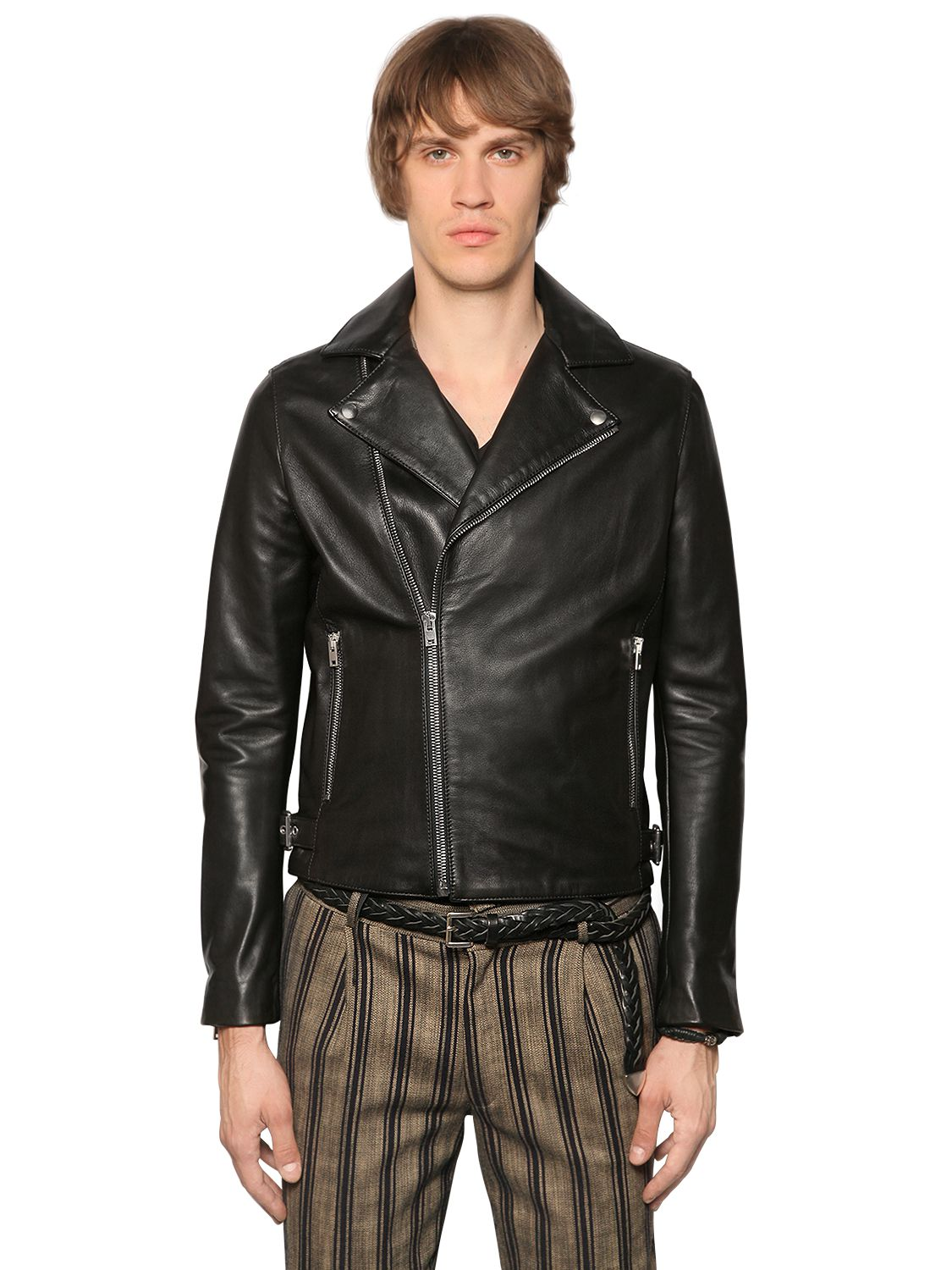 The Veste En Et Homme Biker Vêtements Marron Cuir Kooples Daim rq6wHgxr